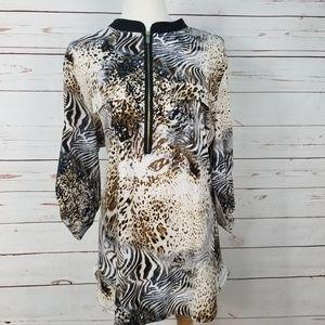 Peter Nygard Animal Print 3/4 Sleeve Tunic Blouse